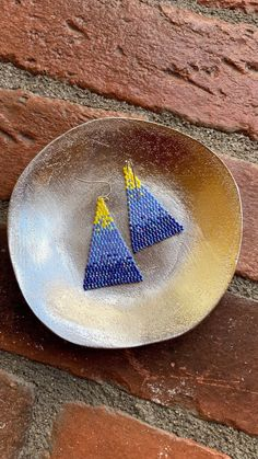Chubbeadrings Shiny Grading Blue and Yellow Triangle Beaded Earrings By Chubbeadrings by chubbybeadedearrings on Etsy