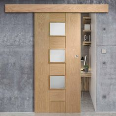 Thruslide Surface Messina Oak - Sliding Door and Track Kit - Obscure Glass - Lifestyle Image. Sliding Room Doors, Track Door, Oak Doors, Messina, Door Wall, Home Office Design, Contemporary Decor, Door Design, Modern Classic