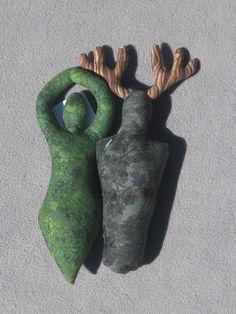 Plush Goddess and Horned God Pair  Spirit by tribeofthefaefolk