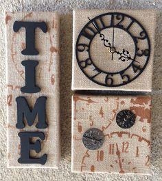 Burlap Canvas Collage Clock
