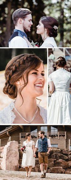 Als Hochzeitskleid für die moderne Berghochzeit wurde ein bezauberndes Hochzeits Dirndl aus weißer Spitze gewählt. Passend zu diesem hippen Dirndl stylte sich der Bräutigam in festlicher Lederhose. Die romantische Flechtfrisur der Braut rundete den gesamten Look ab. I © Kleine Liebelei