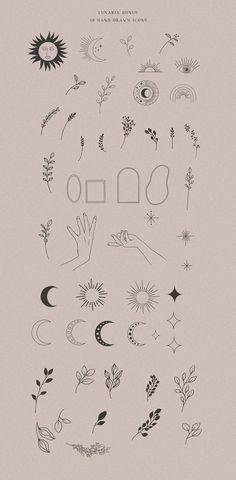 Mini Tattoos, Cute Tiny Tattoos, Dainty Tattoos, Line Art Tattoos, Boho Tattoos, Wiccan Tattoos, Indian Tattoos, Hand Logo, Mystic Logo