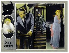 Lobby card for The Cat Creeps (1930) starring Helen Twelvetrees, Raymond Hackett and Neil Hamilton.