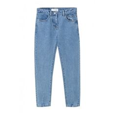 Zipper Fly Loose Tapered Plain High Waist Jeans (1,455 DOP) ❤ liked on Polyvore featuring jeans, pants, bottoms, beautifulhalo, loose jeans, high waisted jeans, high-waisted jeans, highwaist jeans and blue high waisted jeans