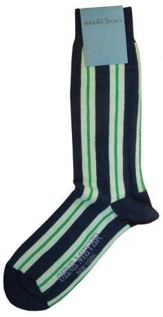 Mens Socks - Gene Meyer Socks in Navy/Green @ KJ Beckett