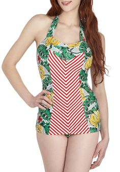 And Then Sun One Piece in Island by Fables by Barrie - Multi, Stripes, Tie Neck, Beach/Resort, Vintage Inspired, 40s, Red, Yellow, Green, Novelty Print, Safari, Rockabilly, Pinup, 50s, Fruits, Halter, Summer, Variation, Chevron