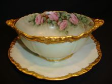 Awesome Limoges Mayonnaise Bowl with Attached Under Plate ~ Hand painted with Pink Roses by L. Austin ~ Jean Pouyat  Limoges France 1890-1932  www.timberhillsantiques.com