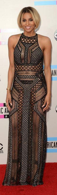 Ciara  in J. Mendel Sheer Spring 2014 halter dress.