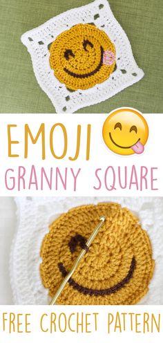 Emoji Granny Square | Free Crochet Pattern from Sewrella