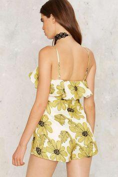 Get Some Sunflower Floral Romper - Sale: 70% Off   Rompers + Jumpsuits