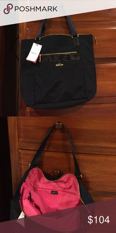 Kipling Leah Tote Roomy and lightweight tote!  Casual for a day of shopping or easy carry on for your next trip! Oh so many pockets 😍😍😍 Navy (Tru) Blue on the outside and vibrant pink on the inside! 17.5 x 14.5 x 7. Kipling Bags Totes