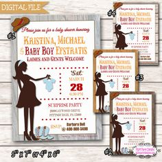 Western Baby Shower Invites  Co-ed Cowboy by M2MPartyDesigns