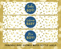 Printable Water Bottle Labels It's a Boy Baby by DreamingMindCards