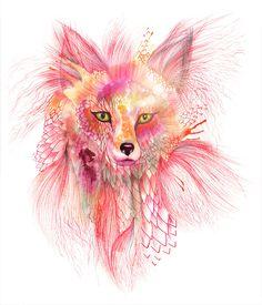 """Foxy Fur - fox watercolor wild animal art by Ola Liola, size 8""""x10"""" (No. 26). $19.00, via Etsy."""