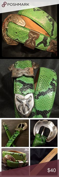 """Kenneth Cole calfskin leather snakeskin print belt This beautiful green & black snakeskin imprinted belt is a vintage piece, but it is in brand-new, unused condition, except for some very minor fraying on the inside of the belt underneath the words """"genuine Italian"""". See last photo for details. It has (c) 1995 engraved on the back of the distressed silvertone buckle, and on the back of the belt it says """"Kenneth Cole New York K7129 M Genuine Italian Calfskin"""". This belt fits a 30-31"""""""" waist…"""