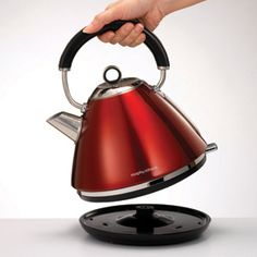 The Metallic Red Accents Traditional Pyramid Kettle is not only stylish and dazzling, but also boasts 360 degree cordless base, water level window and a fast boil 3kW heating element. Red Accents, Traditional Kettles, Grille Pain, Heating Element, Small Appliances, Kitchen Appliances, Prune, Challenge, Mornings