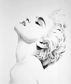 Madonna+Pencil+Drawing+Fine+Art+Print+Portrait+by+IleanaHunter