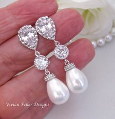 WEDDING Earrings BRIDAL PEARL Earrings Tear by InStyleBoutique