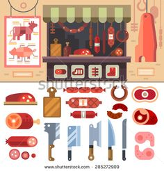 Variety of food in the butcher shop, delicious meat products for sale. Steaks and sausages. Scheme butcherin. Knife Set Vector flat illustration - stock vector