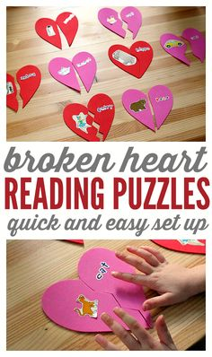 Broken Heart reading puzzles (I can see this used for many things: initial sounds, rhyming words, counting, etc)