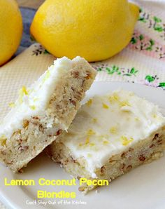 Lemon Coconut Pecan Blondies - Can't Stay Out of the Kitchen