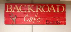 Special order pallet sign for a brand new restaurant! Everyone go check out Backroad Cafe in Marbury on HWY 143. Grand opening is tomorrow! www.facebook.com/thebackroadcafe  Also check out L.E. Creation's on facebook www.facebook.com/Lecreations14