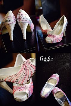 Hand-Painted Coral and Pearl Wedding Pumps by Figgie | info@figgieshoes.com | www.figgieshoes.com