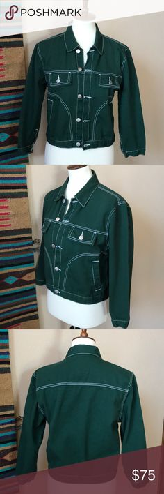 Size Medium UNIF jeans jacket in a dark green with white stitching and  silver colored buttons. Measurements are approximate and taken across the  front of ... 5cce284194d