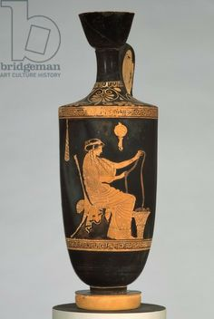 Oil flask (lekythos) with a woman working wool, c.480-470 BC (ceramic).  Brygos Painter (c.500-475 BC) / Museum of Fine Arts, Boston, Massachusetts, USA / Francis Bartlett Donation of 1912 / The Bridgeman Art Library