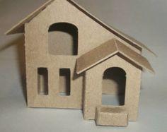 Items similar to Little Village Christmas Houses- DIY - Vintage Village House on Etsy Christmas Villages, Christmas Home, Christmas Crafts, Christmas Glitter, Diy Cardboard Furniture, Cardboard Crafts, Putz Houses, Village Houses, Doll Houses