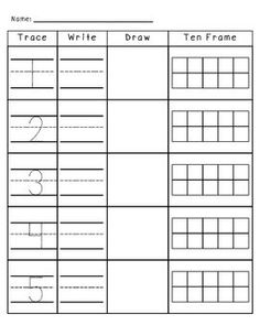Trace, Write, Draw, and Ten Frame Activities 1-10 - $1 great to have