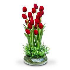arranjo de flores artificiais tulipa vermelha no vaso de vidro