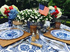 Random musings as seen through my iPhone - The Enchanted Home American Party, Happy Birthday America, Enchanted Home, Home Of The Brave, Beautiful Table Settings, Holiday Tables, God Bless America, Place Settings, Fourth Of July