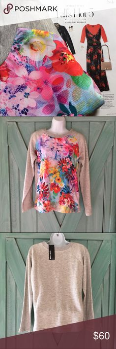 Karats & Caviar Floral Sweatshirt NWT Karats & Caviar from Saks Fifth Avenue, Floral Sweatshirt NWT.  Beautiful dress up or down light weight sweatshirt.  Great transition piece into fall.  It is 100% cotton but the floral front panel feels like silk.  size Small Karats and Caviar Tops Sweatshirts & Hoodies