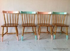 Restyled Vintage Gelato Coloured Dipped Chairs