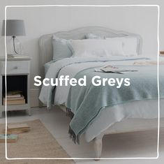 Scuffed grey inspired interiors. With beautiful painted finishes and calming tones for the bedroom, kitchen, living room and stacks more decor ideas.