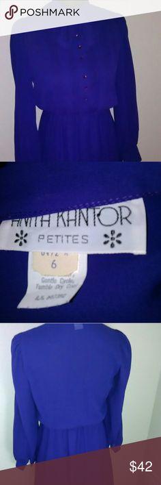 Vintage Anita Kantor Petite Secretary Style Dress Item photographs blue but is a rich purple. The dress is a midi length and has a neck tie. Anita Kantor Dresses Midi