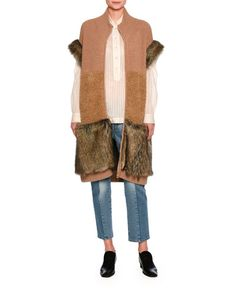 -75MY Stella McCartney  Virgin Wool & Faux-Fur Vest, Brown Kimberly Mixed-Denim Cropped Straight-Leg Jeans, Medium Blue Kirsten Pinstripe Shirt Blouse, White