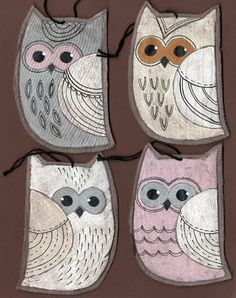 owl ornaments--could make in any color and the kids would love them