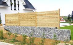 clôture mixte gabion et claustra bois