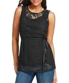 Look what I found on #zulily! Black Lace Date Night Top #zulilyfinds