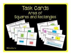 These task cards have been designed to challenge students to calculate the area of squares and rectangles. I like to use them as a center activity.It includes 32 task cards with an answer sheet and an answer key for self assessment.Differentiation of these cards includes the following tasks:1.