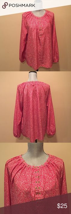 Michael Micheal Kors blouse This beautiful peasant style blouse. Has a small mandarin collar with gold eyelet that decorate the neckline and front. Has two eye and hooks in the front so you have the choice of closing it up or wearing it open. 100% polyester MICHAEL Michael Kors Tops Blouses