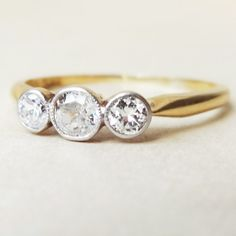 Art Deco Milgrain Framed Diamond Trilogy Ring 18k by luxedeluxe