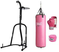 Everlast 70 lb Heavy Punching Boxing Bag Kit Stand Women Pink Gloves Wraps MMA #Everlast