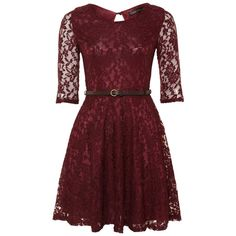 MELA LOVES LONDON Mela Burgundy Lace Dress ($45) ❤ liked on Polyvore