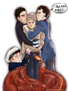 John Watson being fought over by 4 Benedict characters: John Harrison (STID), Sherlock Holmes (Sherlock), Martin Crieff (Cabin Pressure), and Smaug (The Hobbit). Too funny