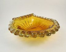 Vintage Murano Bullicante Gold Amber Glass Dish with Ribbed and Folded Edge Controlled Bubbles