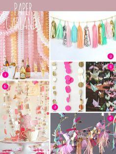 Bridal Inspiration Boards ~ Pom Poms, Pin Wheels and Paper Garlands Paper Flower Garlands, Paper Bunting, Paper Flowers Wedding, Bunting Garland, Buntings, Dorm Decorations, Wedding Decorations, Paper Peonies, Party Garland