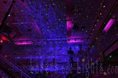 This starfield of laser beams was created at the SupperClub in San Francisco with a single Bliss 50 laser starfield projector from LasersandLights.com